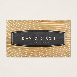 シンプルで男らしい黒板のバッジの木製の穀物の一見 名刺
