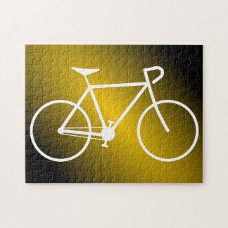 シンプルで白い自転車のシルエットのパズル ジグソーパズル