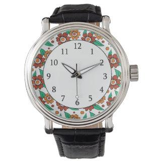 シンプルで素朴で赤いオレンジ花模様 腕時計
