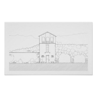 シンプルで素朴な家のモダンな白黒スケッチ ポスター