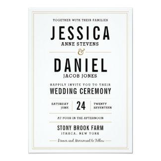シンプルで素朴な結婚式招待状 12.7 X 17.8 インビテーションカード