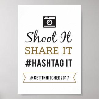 シンプルで素朴な結婚5x7 Hashtagの印 ポスター