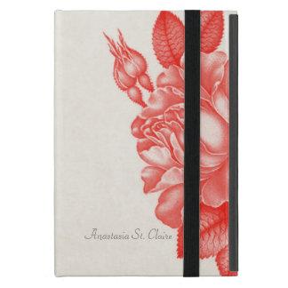 シンプルで自然な植物の赤いバラの名前をカスタムする iPad MINI ケース