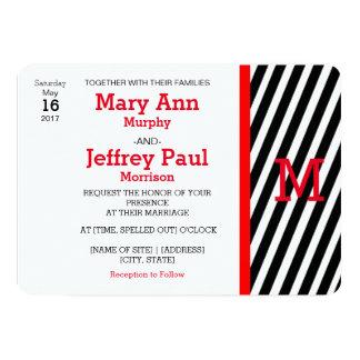 シンプルで赤く、ストライプのな写真の結婚式招待状 カード