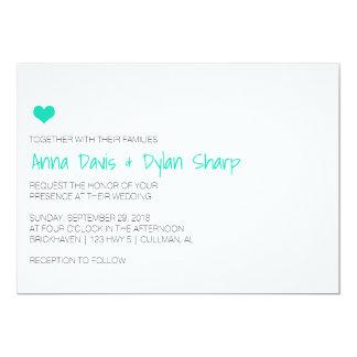 シンプルで青いハートの結婚式招待状 カード