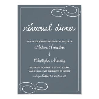 シンプルで青いリハーサルの夕食のタイポグラフィの結婚 カード