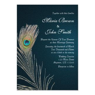 シンプルで青い孔雀の羽の結婚式の招待 カード