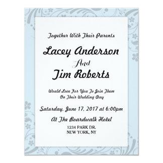シンプルで青い花の結婚式招待状 カード