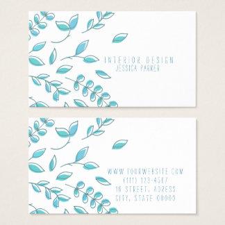 シンプルで青い花柄 名刺
