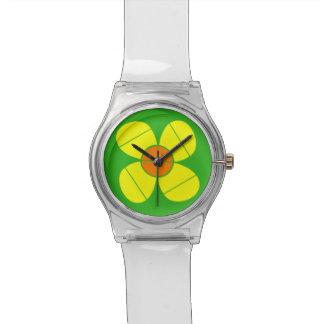 シンプルで黄色い花 腕時計