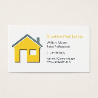 シンプルで黄色及び灰色の家アイコン不動産仲介業者カード 名刺