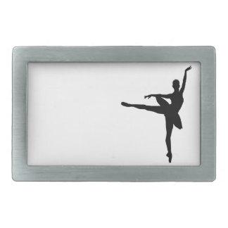 シンプルで黒い及び白人の踊りのバレリーナ 長方形ベルトバックル