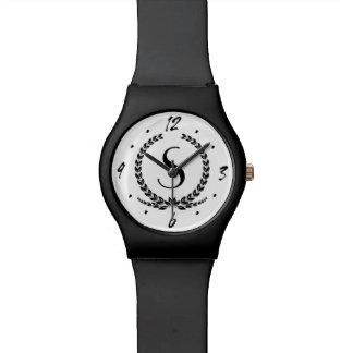 シンプルで黒い葉のモノグラムのカスタムな腕時計 腕時計