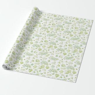 シンプルで、かわいい緑の葉の水彩画パターン 包み紙