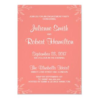 シンプルで、エレガントな珊瑚のピンクの婚約パーティ カード