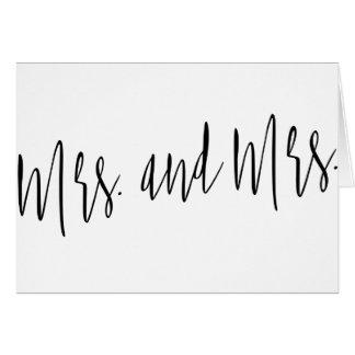 """シンプルで、美しい書道""""夫人および夫人"""" カード"""