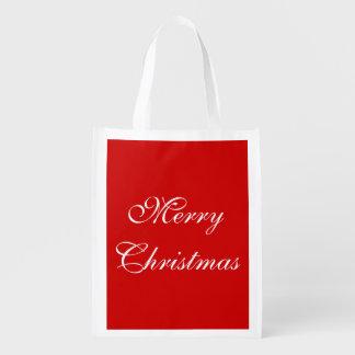 シンプルなお祝いのメリークリスマスの幸せな休日の単語 エコバッグ