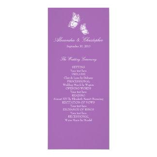 シンプルなすみれ色の蝶結婚式プログラム カード