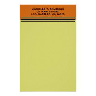 シンプルなオレンジカーキ色 便箋