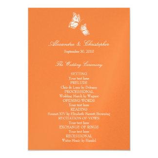 シンプルなオレンジ蝶結婚式プログラム カード