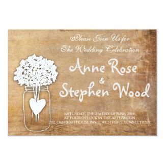 シンプルなキャンバスのメーソンジャーの結婚式招待状 カード