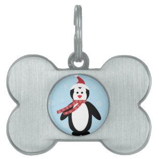 シンプルなクリスマスのペンギン ペットネームタグ
