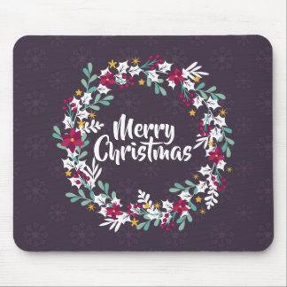 シンプルなクリスマスのリースの紫色 のマウスパッド マウスパッド