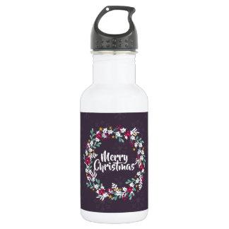 シンプルなクリスマスのリースの紫色|の水差し ウォーターボトル