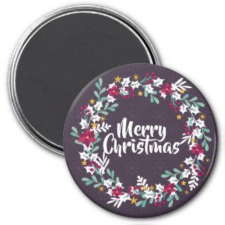 シンプルなクリスマスのリースの紫色 の磁石 マグネット