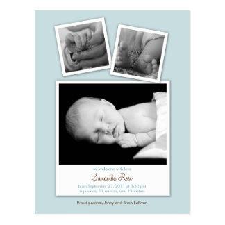 シンプルなスナップショットベビーの誕生の発表(青い) ポストカード