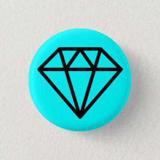 シンプルなダイヤモンド-青緑色の黒 缶バッジ