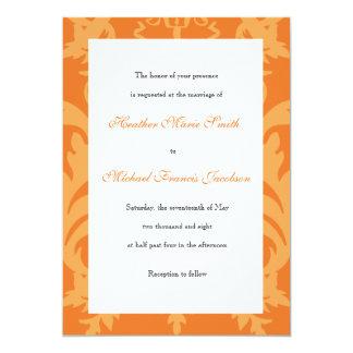 シンプルなダマスク織のマンゴの結婚式招待状 12.7 X 17.8 インビテーションカード