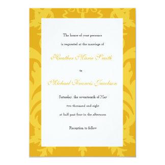 シンプルなダマスク織の金ゴールドの結婚式招待状 カード