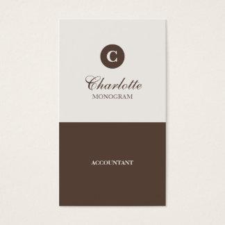 シンプルなチョコレート及びクリームのモノグラムの名刺 名刺