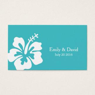 シンプルなハイビスカスのターコイズの結婚式のウェブサイトの挿入物 名刺
