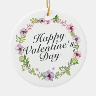 シンプルなハッピーバレンタインデーの花模様カット セラミックオーナメント