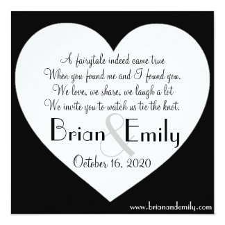 シンプルなハートの白黒の正方形の結婚式の招待 カード