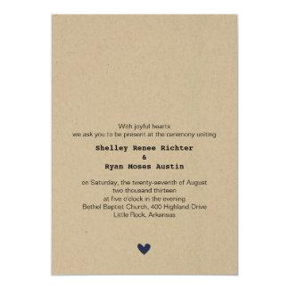シンプルなハートの結婚式招待状 カード
