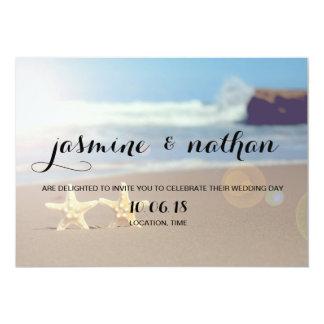 シンプルなヒトデの結婚式招待状 カード