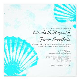 シンプルなビーチの貝殻の行先の結婚式の招待 13.3 スクエアインビテーションカード