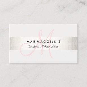 シンプルなピンクのモノグラムのモダンでフェイクな銀製のストライプの 名刺