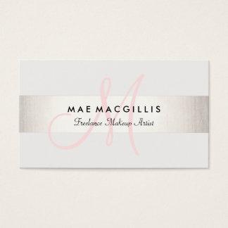 シンプルなピンクのモノグラムのモダンで模造のな銀製のストライプの スタンダード名刺