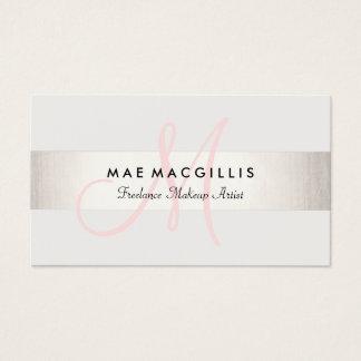 シンプルなピンクのモノグラムのモダンで模造のな銀製のストライプの 名刺