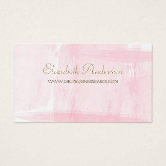 シンプルなピンクの水彩画のエレガントな金ゴールドの原稿 名刺