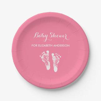 シンプルなピンクの生まれたばかりのな足跡の女の子のベビーシャワー ペーパープレート