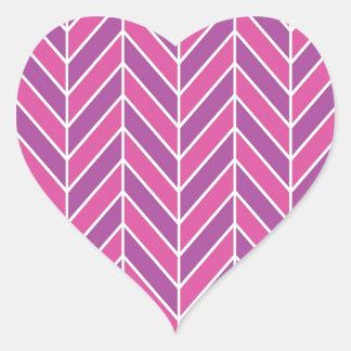 シンプルなピンクの紫色のヘリンボンパターン ハートシール