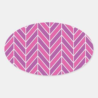 シンプルなピンクの紫色のヘリンボンパターン 楕円形シール