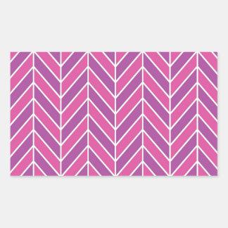シンプルなピンクの紫色のヘリンボンパターン 長方形シール