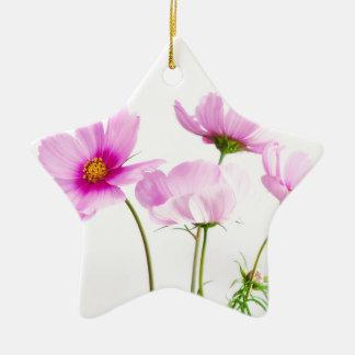 シンプルなピンクの花 セラミックオーナメント