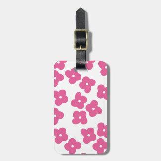 シンプルなピンクの花 バッグタグ